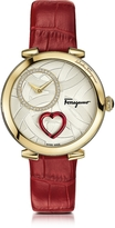 Salvatore Ferragamo Cuore Gold IP Diamonds Women's Watch w/Red Croco Embossed Strap