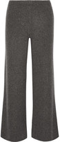 The Row Latone Ribbed Cashmere Wide-leg Pants - Dark gray