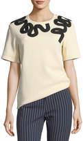 Derek Lam 10 Crosby Crewneck Short-Sleeve Cotton Tee w/ Embroidery