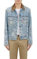 Gucci Men's Leopard-Print Calf-Hair Collar Embellished Trucker Jacket-LIGHT BLUE