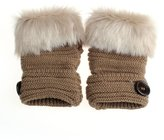Towallmark Women Warm Faux Rabbit Fur Wrist Fingerless Gloves