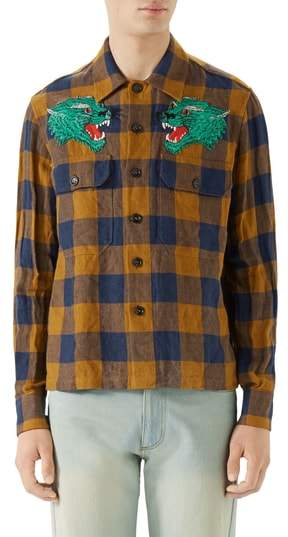 Gucci Macro Gingham Panther Applique Linen Shirt Jacket