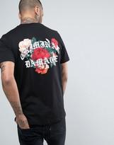 Criminal Damage T-Shirt In Black With Floral Back Print