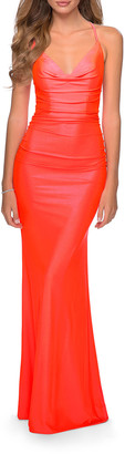 La Femme V-Neck Ruched Jersey Gown w/ Lace-Up Back