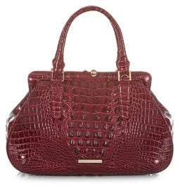 Brahmin Cranberry Melbourne Layla Embossed Leather Satchel