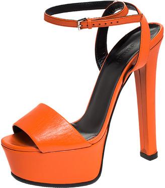 Gucci Orange Leather Ankle Strap Platform Open Toe Sandals Size 37.5