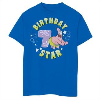 SpongeBob Squarepants Licensed Character Boys 8-20 Patrick 7th Birthday Star Short Sleeve Tee