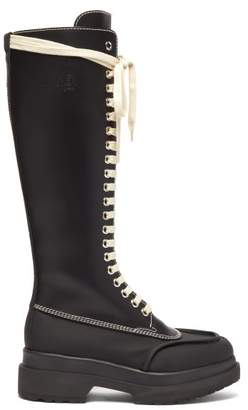 MM6 MAISON MARGIELA Layered-sole Lace-up Knee-high Leather Boots - Womens - Black