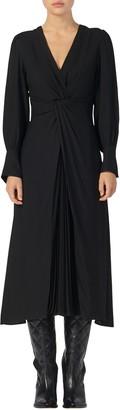 Sandro Minella Pleat Detail Long Sleeve Dress