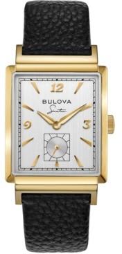 Bulova Men's Frank Sinatra My Way Black Leather Strap Watch 29.5 x 47mm