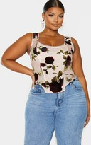 4fashion Plus Dusty Pink Floral Velvet Corset Top