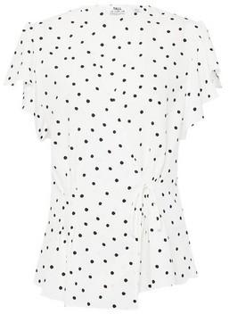 Dorothy Perkins Womens Dp Tall Monochrome Spot Print Ruffle Wrap Blouse