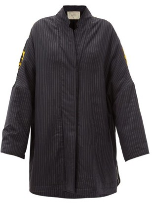 By Walid Basma Pinstriped Embroidered Silk And Wool Coat - Black Multi