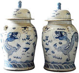 One Kings Lane Vintage Blue & White Ginger Jars