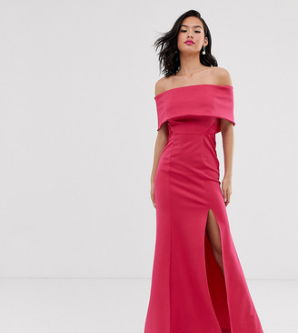 Laced In Love scuba bardot maxi dress with lace insert detail in pink