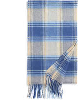 Johnstons of Elgin Blue Heathered Check Cashmere Scarf