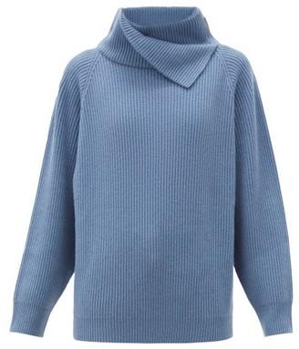 Brunello Cucinelli Foldover-neck Ribbed Cashmere Sweater - Blue
