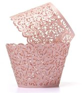 Baloray Filigree Little Vine Lace Laser Cut Cupcake Wrapper Liner Baking Cup Muffin Case Trays Wedding Birthday Party Decoration (Pink, 12)