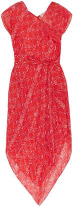 Diane von Furstenberg Serena Asymmetric Snake-print Silk-georgette Dress