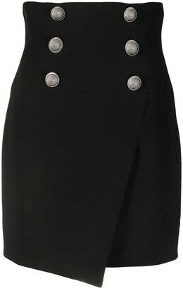 Balmain Buttoned Wraparound Mini Skirt