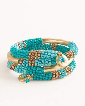 Chico's Chicos Aqua Seed Bead Coil Bracelet