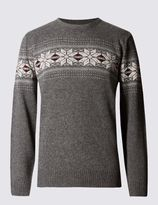 Marks and Spencer Snowflake Fairisle Crew Neck Jumper with Wool