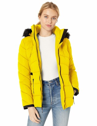 GUESS Women's Hooded quilted puffer jacket with removable faux fur trim
