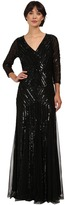 Adrianna Papell 3/4 Sleeve Beaded Wrap Front Gown