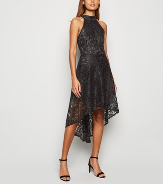 New Look Mela Lace Dip Hem Halter Neck Dress