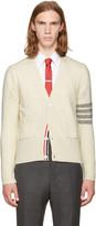 Thom Browne White Classic Mohair V-neck Cardigan