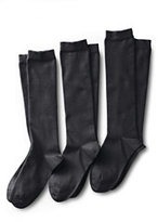 Lands' End Women's Seamless Toe Solid Cotton Blend Trouser Socks (3-pack)-Black