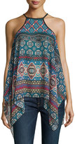 Romeo & Juliet Couture Sheer Woven Halter Top, Blue/Multi