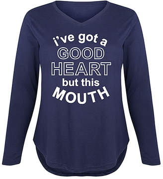 Instant Message Plus Women's Tee Shirts NAVY - Navy 'Got A Good Heart But This Mouth' Long-Sleeve Tee - Plus