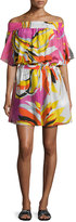 Emilio Pucci Fiore Maya Printed Off-the-Shoulder Coverup Dress, Pink/Yellow/White