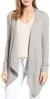Velvet by Graham & Spencer Women's Ribbed Cashmere Open Front Cardigan