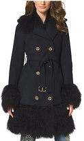 Michael Kors Fur-Trimmed Merino Wool Coat