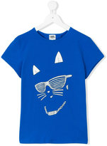 Karl Lagerfeld cat face T-shirt - kids - Cotton/Spandex/Elastane - 14 yrs