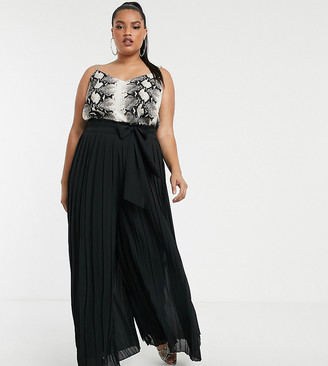 TFNC Plus Plus pleated wide leg trousers co-ord with tie waist in black