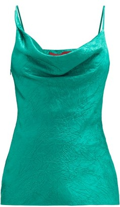 Sies Marjan Amira Cowl-neck Crinkled-satin Cami Top - Womens - Green