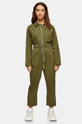 Topshop Womens Petite Khaki Boiler Suit - Khaki
