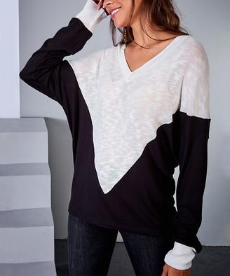 Milan Kiss Women's Blouses BLACK-WHITE - Black & White Color Block Burnout Top - Women