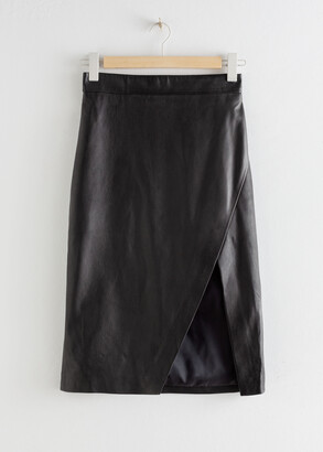 And other stories Leather Asymmetric Pencil Skirt