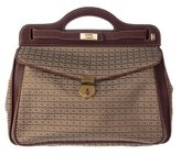 Mark Cross Leather-Trimmed Woven Satchel