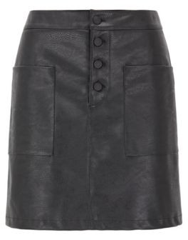BOSS A-line skirt in faux leather with patch pockets