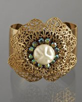 gold 'Filigree Diamonte' wide cuff