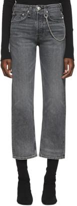 Rag & Bone Black Faded Maya High-Rise Ankle Jeans