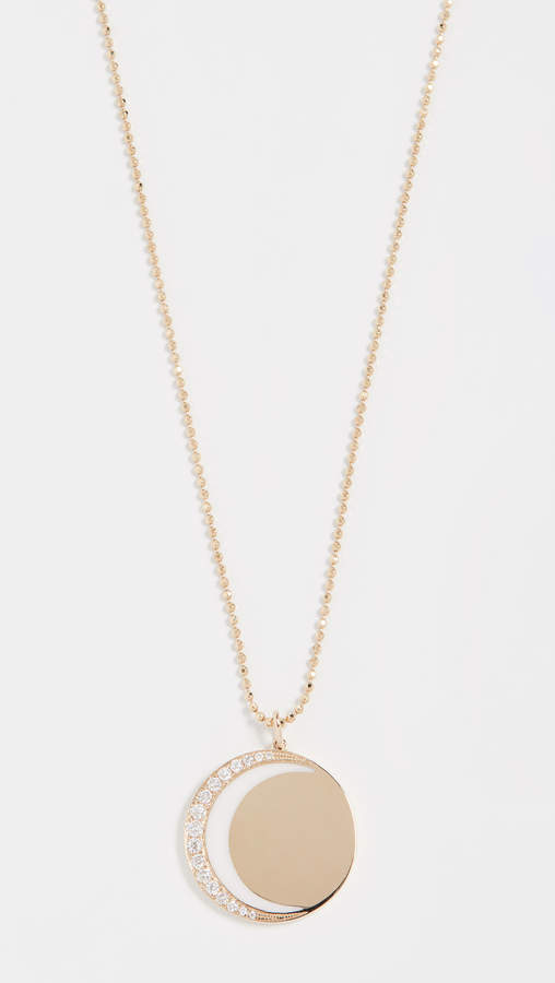 Ef Collection 14k Diamond & Enamel Crescent Moon Necklace