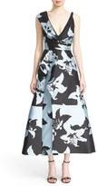 J. Mendel Women's Floral Jacquard Draped Bodice Tea Length Dress