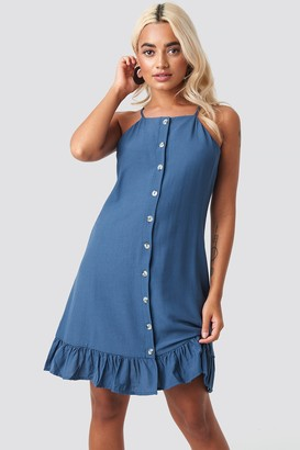Trendyol Meg Button Detail Mini Dress Blue