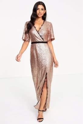 Forever Unique Womens Wrap Maxi Dress - Gold